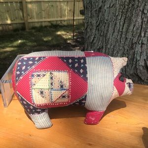 Vintage patch work pig pillow